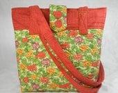 Quilted Cotton Tote Bag Geraniums on Yellow Background with Red Trim