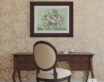 Spring Rose Blossoms Wall Stencil Allover Pattern for Wall Decor DIY Wallpaper Look