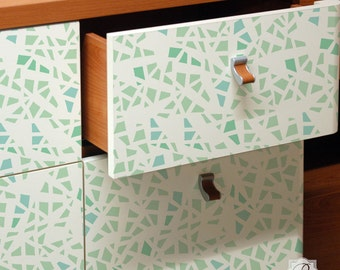 Shattered Allover Furniture Stencil for DIY Projects