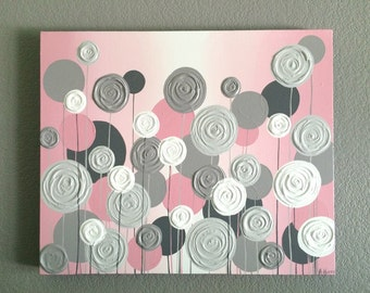 Nursery Wall Art, Pink with Grey Textured Flowers, Acrylic Painting on Canvas, Made to order