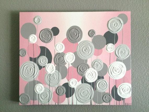 Nursery Wall Art Pink With Grey Textured Flowers Acrylic