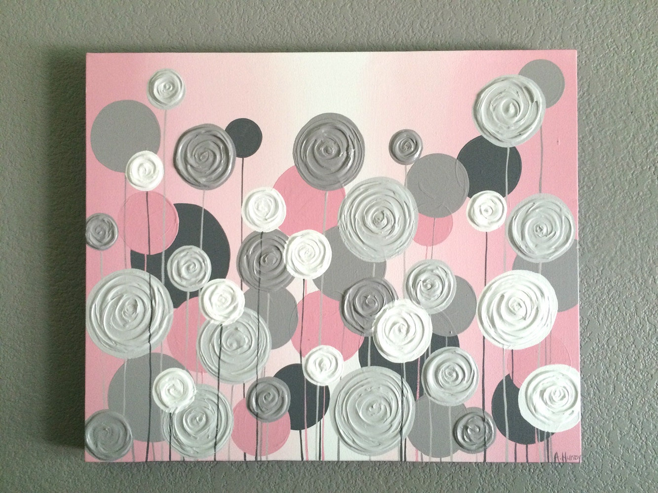 Nursery wall art pink with grey textured flowers acrylic for Texture painting ideas canvas