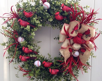 St Louis Cardinals Wreath-Baseball-Redbirds-Sports Decoration-Louisville Cardinals-Baseball-Christmas Cardinal-Busch Stadium-Cardinals
