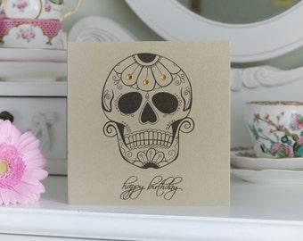 Daisy Sugar Skull Day of the Dead Tattoo Handmade Birthday Card