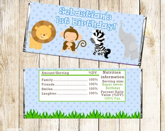 Jungle Candy Bar Wrapper - Baby Boy Shower Blue Jungle Chocolate Favor Labels Printable Personalized