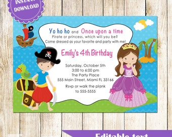 Pirate Princess Invitation - Printable Personalized Kids Birthday Party Invites Editable File African American or Caucasian INSTANT DOWNLOAD