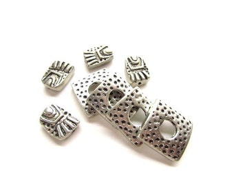 Large Square Slider Beads with Chunky Metal Beads