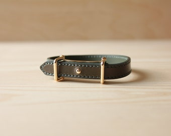 YC Fine Stitched Leather Bracelet(Olive Khaki)