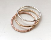 Triple Stack Ring Se | Hammered Band | Delicate | Stacking Rings | Sterling Silver | Gold Filled | Rose Gold Filled/Gold Filled