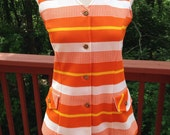 Vintage Mod orange and white sleeveless top, striped vest, 1960s 1970s women's summer blouse or vest,