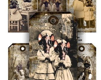 Steampunk gothic grunge tags tiny time travelers  with Gas masks instant download printable tags collage sheet craft supply