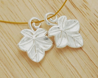 2 of 925 Sterling Silver Ivy Charms 13x17mm., Polish Finished.  :tm0060