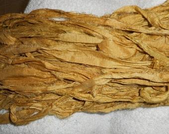 5 Yards OLD GOLD Raw Edge  Hand Dyed Ribbon Sari Silk