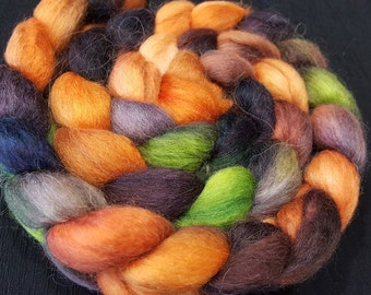 Hand Dyed Alpaca/Merino/Tussah Silk Roving - 50/30/20 - 4 oz - Cantaloupe Orange, Meadow Greens with Brown and Brown/Black