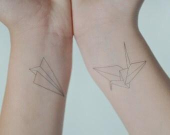 Origami Crane Temporary Tattoo, Temporary Tattoo Set, Paper Aeroplane Temporary Tattoo, Small Temporary Tattoo, Gift Ideas, Birthday Present
