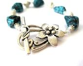 Turquoise and Silver Bracelet - Beaded Bracelet - Gemstone Bracelet - Turquoise Jewelry - Sterling Silver - Swarovski Crystal