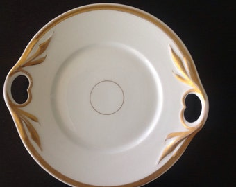 Vintage White and Gold Porcelain Serving Plate with Two Handles