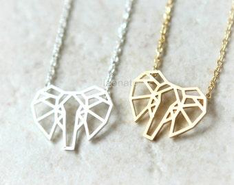 Origami Elephant Necklace / elephant face, gold, silver