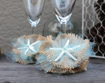 Beach Wedding shabby chic Burlap & Tulle Starfish glasses charms, vintage rustic toasting flutes decoration, champagne glasses charms
