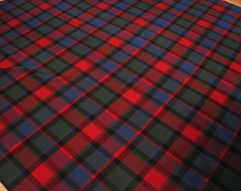"""Vintage L. L. Bean 100%  Wool Plaid Queen / King Size Blanket 95"""" x 101"""", Red, Navy Blue, Green Plaid, Cabin, Rustic, Camping, Picnic"""