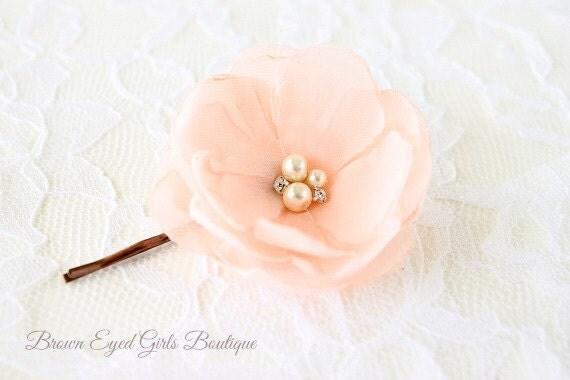 Blush Pink Hair Flower Or Brooch Bridal Wedding: Blush Pink Flower Clip Blush Pink Bridal Flower Hair Clip