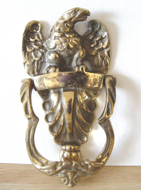 Brass eagle door knocker large vintage antiqued - Vintage brass door knocker ...