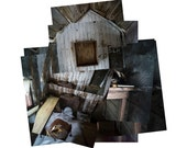 Exploded shed interior, original fine art photography, photocollage