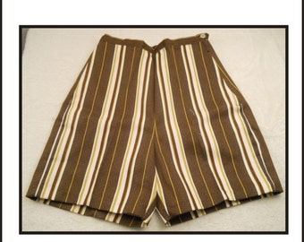 Vintage Ladies Shorts New Old Stock Brow Gold And White