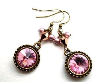 Pink crystal rhinestone earrings, antiqued brass ornate settings, rose gold crystal, dusty pink pearls, Austrian crystal pink jewelry