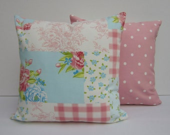 Cushion Covers, Pillow Covers, 16 x16,  Patchwork Print Cushion Covers, shabby chic , Cottage Chic, Duckegg and Pink, Pink Dotty