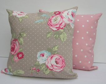 Cushion Covers, 16 x 16,Taupe and Pink Floral, English Roses, Cottage Chic, Pink Polka Dot, Set of two, Pillow Cases 16 x 16