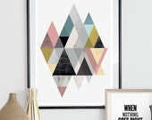 Abstract print, Triangle print, Watercolor print, Scandinavian art, pastel colors, modern art, mid cenutry print, mountains poster, simple