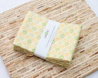 SALE - Large Cloth Napkins - Set of 4 - (N2717) - Yellow Modern Reusable Fabric Napkins