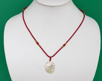 Carved White Shell Rabbit Pendant on Red Twisted Silk Adjustable Cord