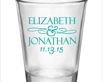 48 Personalized Wedding Favors 1.5oz Shot Glasses Custom Wedding Favors NEW 2018 Wedding Designs