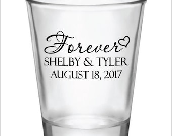 96 Personalized 1.5oz Wedding Favor Glass Shot Glasses New Romantic Designs Custom Wedding Favors