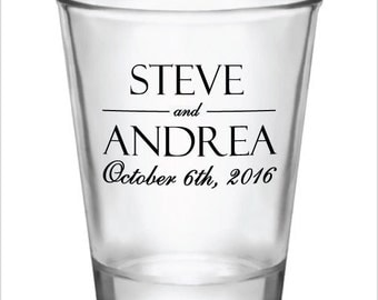 48 Personalized Wedding Favor 1.5oz Shot Glasses Custom Wedding Favors