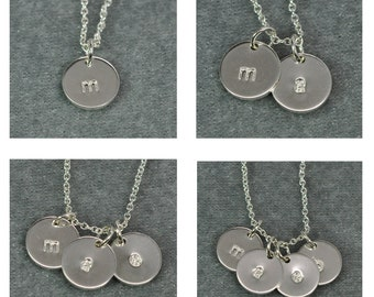 Tiny Silver Initial Pendant Necklace Multi Disc, Lowercase Letter Hand Stamped, Kristin Noel Designs
