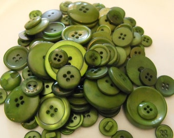 Forest Green Buttons, 100 Bulk Assorted Round Multi Size Crafting Sewing Buttons