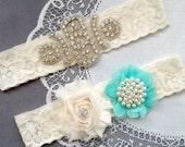 Wedding Garter Bridal Garter TEAL BLUE Garter Set Lace Garter Ivory Rhinestone Crystal Pearl Garter Beach Wedding GR146LX