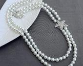 Bridal Pearl Rhinestone Necklace Crystal Wedding Necklace Pearl Necklace Beach Wedding Jewelry White Ivory Teal Pearls NK060LX