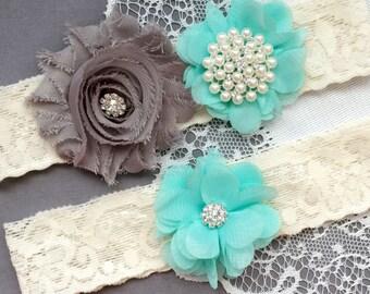 Wedding Garter Belt Set Bridal Garter Set Lace Garter Belt Rhinestone Garter Set Crystal Garter Ivory Grey Teal Blue GR180LX