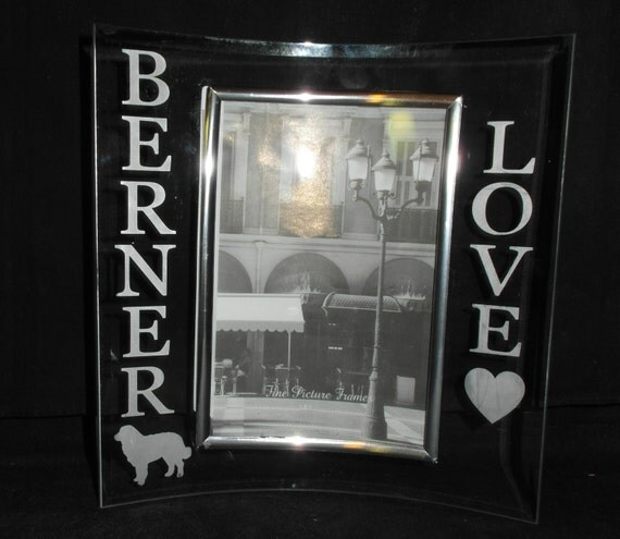etched rounded glass 4x6 picture frame with