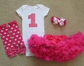 1st Birthday Girl Outfit, Ready To Ship, Hot Pink Candy Polka Dot, Baby Girl 1st Birthday Outfit, Pettiskirt, Girls First Birthday Outfits