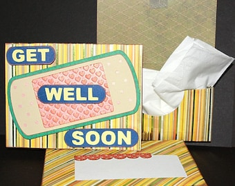 Get Well Soon, Purse Size Tissue Holder and Card, SVG File