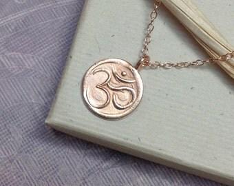 Rose gold om necklace, ohm aum charm, yoga, namaste, mindfulness, minimalist, everyday jewelry N135