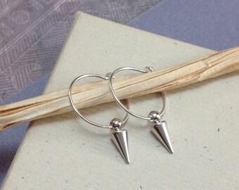Sterling silver hoop earrings with silver spike dangle earrings, minimalist jewelry, everyday jewelry E406S