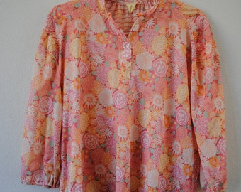 a vintage 60s 70s multicolored floral print button down top blouse. sz large or x-large.