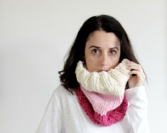 Chunky Cowl Scarf Infinity Loop in Fisherman, Blossom and Raspberry / The Newberry Cowl
