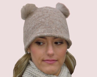 Koala Ears Extra Warm Beanie Cap with Animal Shape in Soft Brown Cashmere Blend Knit and Real Fur Trim